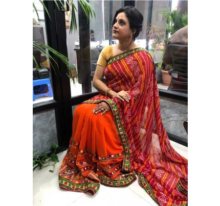 Eye-Catching Look Multi color Pure Georgette Saree With Kacchi Gamthi Work