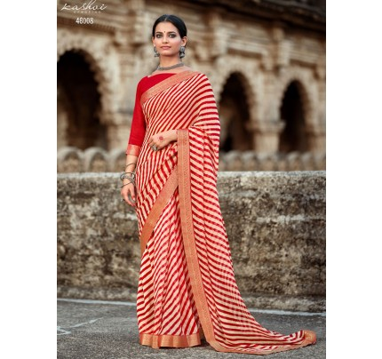 Celebrity Style Georgatte with Sequence foil & fancy lace Saree