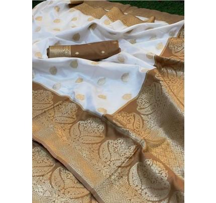 Stylish Look Pure weaving Silk Saree with big broad border