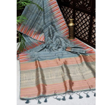 Ikkat Style Tussar Silk Saree with rich Zari woven Pallu & fancy Tassels