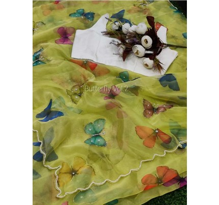 Premium Pure Soft Organza Silk Saree With Beautiful Digital Print With Handwork Khatl Saree