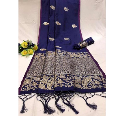 Attractive Look Blue Colour Soft Banarasi Silk Saree with Silver and Gold Zari weaving Pallu