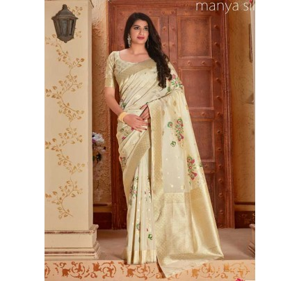 Wedding Designer White  Color Pure Silk weaving Saree