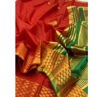 Elegance Look Red Colored Pure Cotton Silk Saree