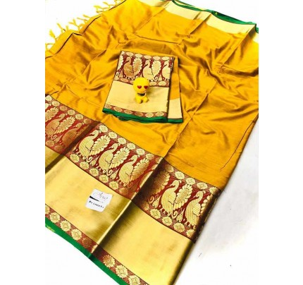 Stunning Yellow Color Pure Cotton Silk Saree