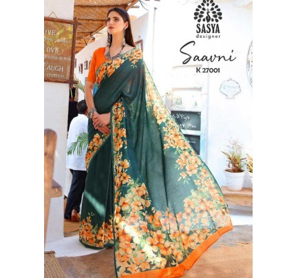 New Trending Multi Colour Soft Cotton Printed Saree with weaving border