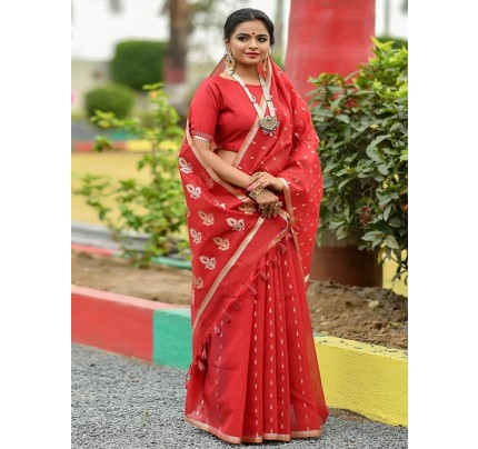 Wedding Look Linen Silk Saree with Gold Zari weaving(4 peice set)