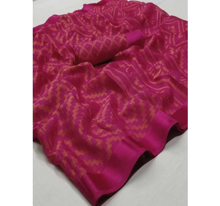 Pink Colored Beautiful Soft Brasso Silk Fancy Saree