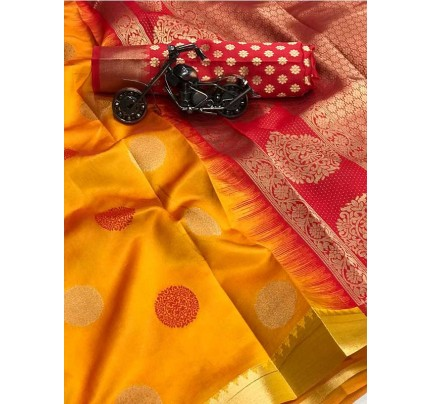 Graceful combination for Wedding Look Yellow Color Lichi Silk weaving jacquard Saree