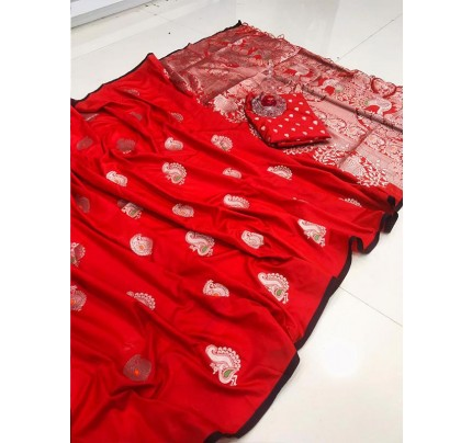 Elegance Look Red Banarasi Silk weaving jacquard Saree with reach pallu