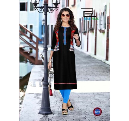 Black color Heavy Rayon Printed Kurti With Hand Work