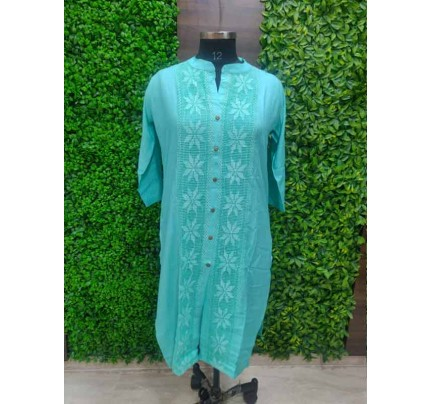 SkyBlue color Heavy Rayon Kurti With Same Color Lace