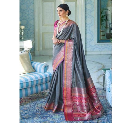 Wedding Designer Grey Color Pure Silk weaving Saree
