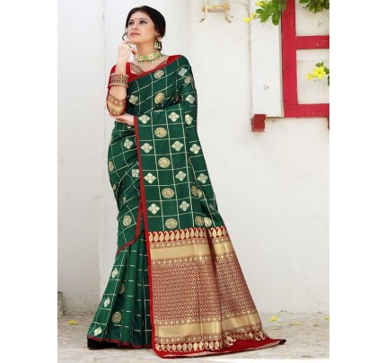Married Season green Color Soft Weaving Silk Saree