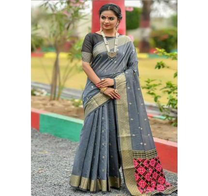 Wedding wear Grey color Soft Cotton Silk weaving Saree