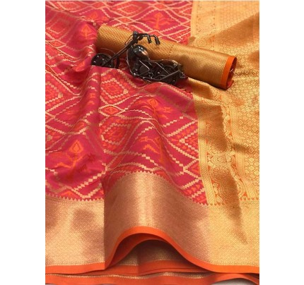 Beautiful Pink Color Heavy Traditonal Patola Saree