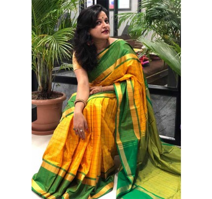 Wedding Designer Yellow    Color Pure Soft Silk Upada Saree