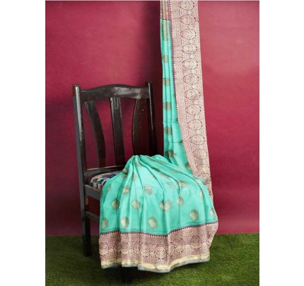 Cyan Colored Beautiful Pure Weaving Silk Meenakari Design Saree