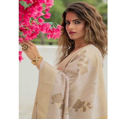 New Eye Catcher Cream Color Soft Mulberry Silk Weaving Saree with Exclusive zari woven