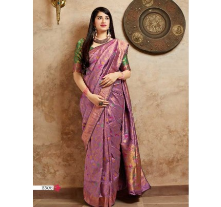 Stunning Look Purple Colour Soft Banarasi silk Pure Paithani Silk saree
