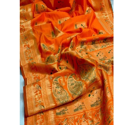 Stunning Look Orange Colour Soft Banarasi Silk Zari Rich Saree