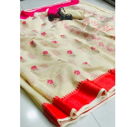 Wedding Look White Color Soft Linen Silk Saree