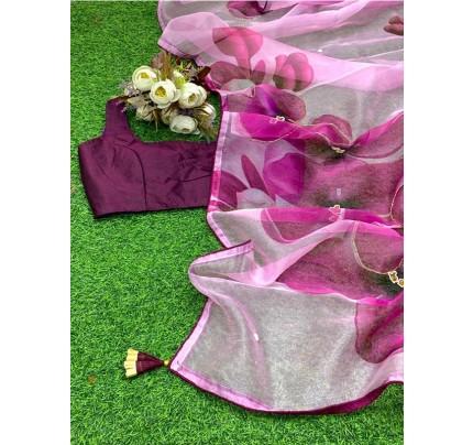 Pure Soft Organza Silk Sarees With Beautiful Handwork Khatli On Floral Prints