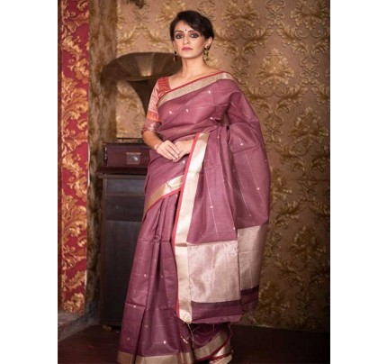 Stunning Brown Color Linen Silk Saree With Silver Zari Checks