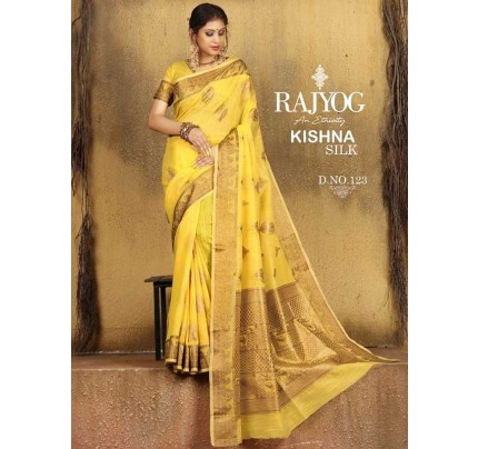New Trending Yellow Colour Soft Weaving Cotton With Jequard Border Saree