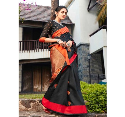 Eye-Catching Look Black color Soft Linen Silk weaving Saree