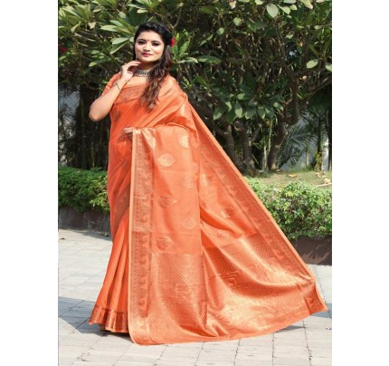 New Trending Orange Colour Cotton Linen Saree including Blouses with weaving