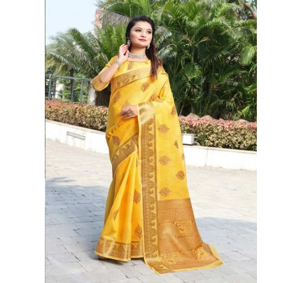New Trending Yellow Colour Cotton Linen Saree including Blouses with weaving