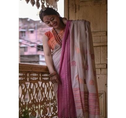 Digital Printed Soft Chanderi Cotton Saree with Banglori Satin Blouse