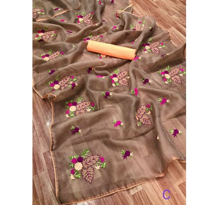 Classic Look Organza Silk Saree with embroidery work