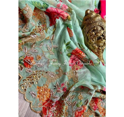 Celebrity Style Georgette embroidery Saree with stone work