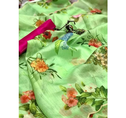 Floral Style Organza silk Saree with all over different Print