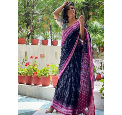 Ikkat Style Soft Linen Printed Saree with Matching Blouse