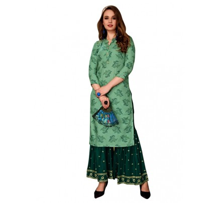 Trending Green Colour Heavy Foil Print Top with Matching Sharara