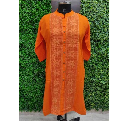 Orange color Heavy Rayon Kurti With Same Color Lace