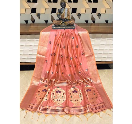 Elegance Look Orange   Colour Handloom Cotton Weaving Paithani Saree