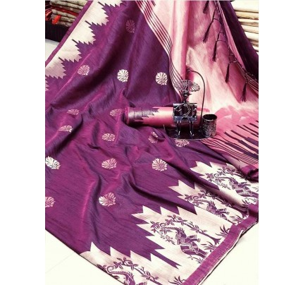 Stunning Purple Color Ekkat Silk Rich Pallu Weaving Border  All Over Nice Designing Saree With Weaving Blouse