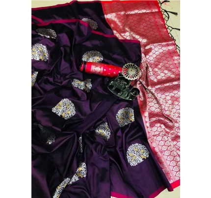 Graceful combination for Wedding Look Purple   Color Lichi Silk Weaving Jecard Saree With Beautiful Wiaving Blouse