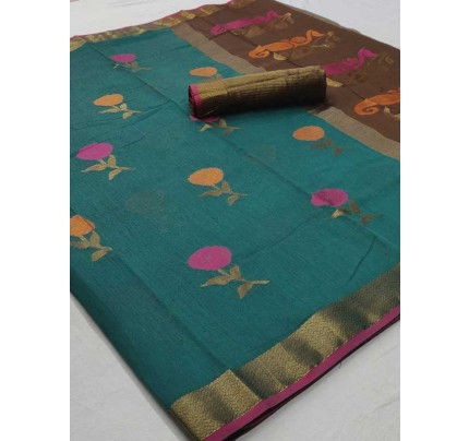 Beautiful Cyan Color Linen Fabric Saree