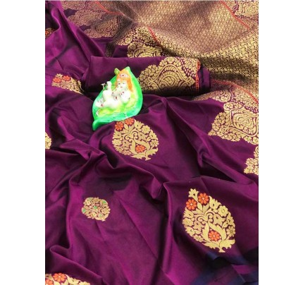 Stunning Look Purple Colour Soft Banarasi silk weaving saree with pure zari woven pallu