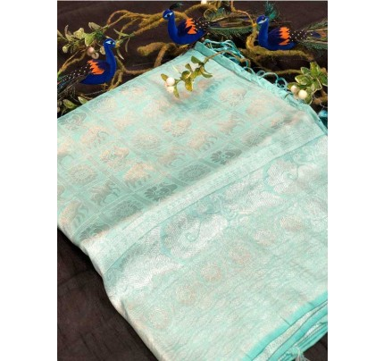 Stunning Look SkyBlue Colour Pure Banarasi Silk with pure golden Jari yarn saree