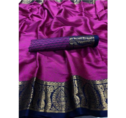 New Trending Pink Color Cotton Silk Saree