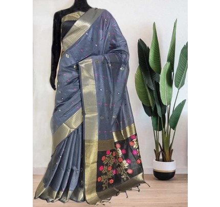 Beautiful Grey Soft Handloom Cotton Weaving Saree With Meenakari Butti And Contrast  Woven Pallu Saree