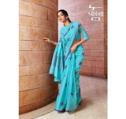 New Trending SkyBlue Color Linen Cotton Silk Printed Saree