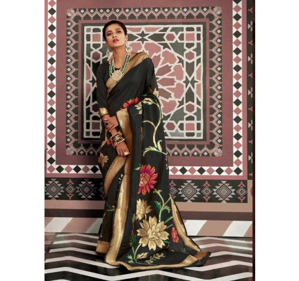 Wedding Designer Black Color pure silk weaving Saree with excellent soft texture
