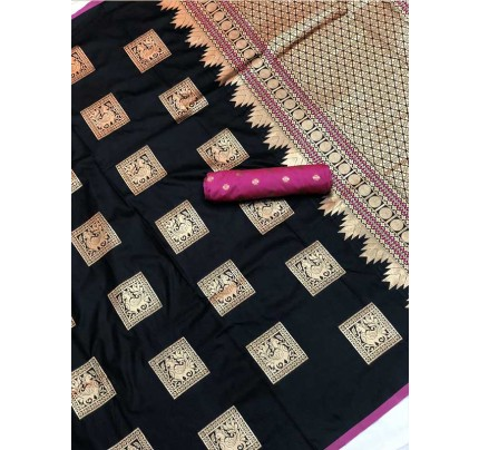 Stunning Look Black Colour Soft Banarasi silk weaving saree